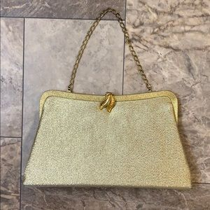 Vintage Art Deco Gold Shimmer Evening Clutch Bag